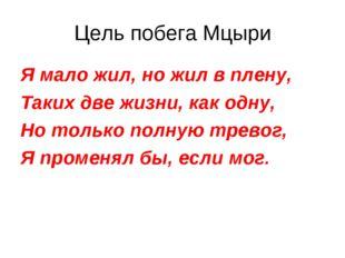 Цель побега Мцыри Я мало жил, но жил в плену, Таких две жизни, как одну, Но т