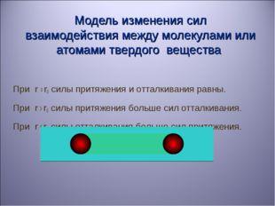 Модель изменения сил взаимодействия между молекулами или атомами твердого ве
