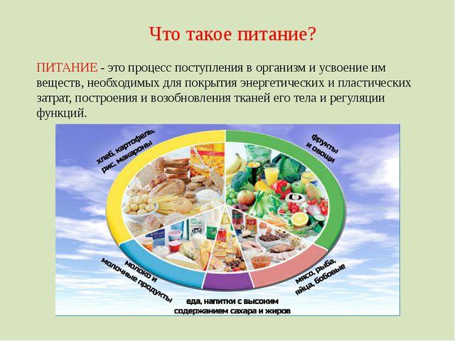 Что такое питание? ПИТАНИЕ - это процесс поступления в организм и усвоение им...