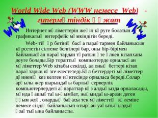 World Wide Web (WWW немесе Web) - гипермәтіндік құжат Интернет мәліметтерін