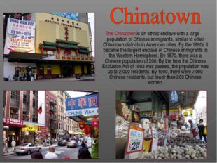 The Chinatown is an ethnic enclave with a large population of Chinese immigr