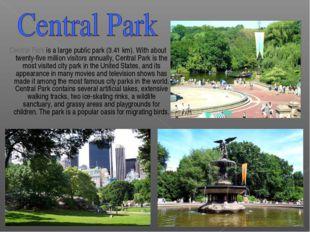 Central Park is a large public park (3.41 km). With about twenty-five millio