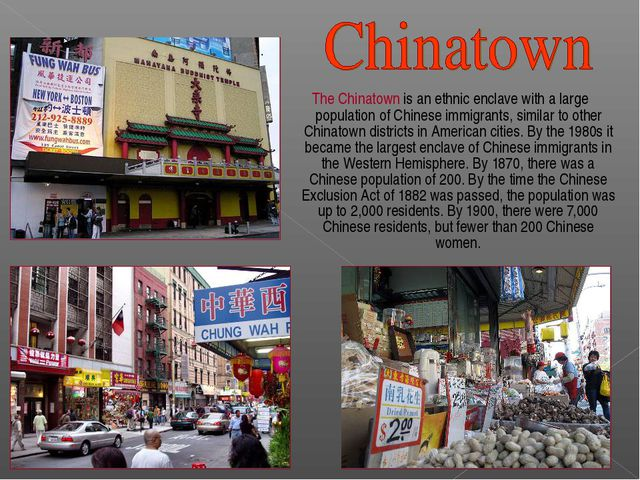 The Chinatown is an ethnic enclave with a large population of Chinese immigr...