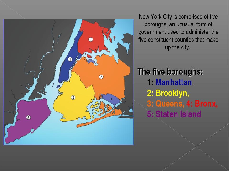 The five boroughs: 1:Manhattan, 2:Brooklyn, 3:Queens, 4:Bronx, 5:Staten...