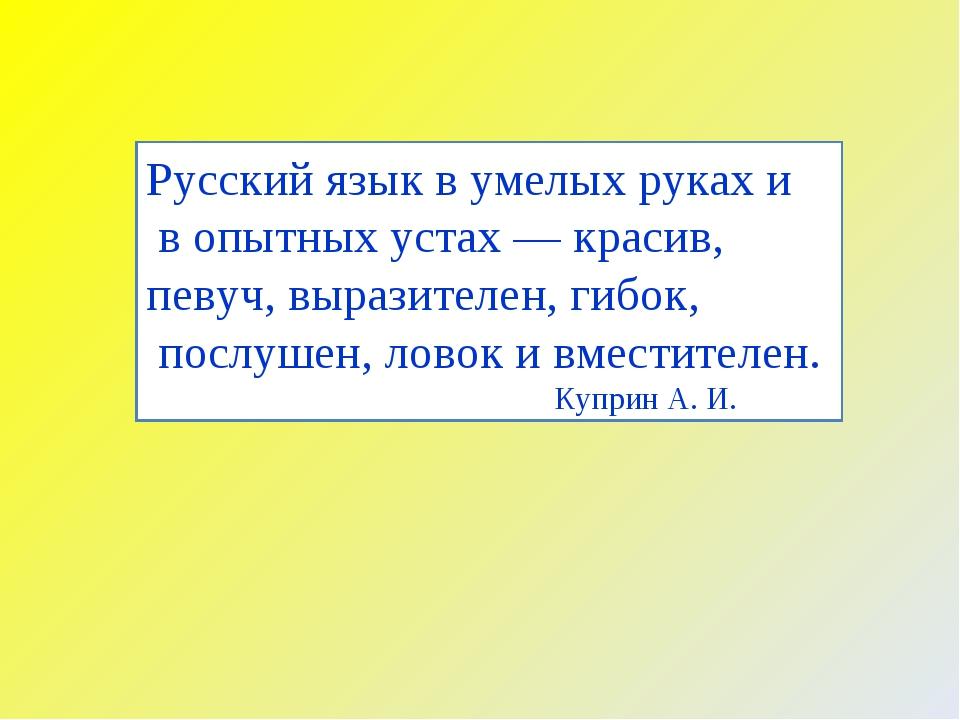 Русский язык в умелых руках и в опытных устах — красив, певуч, выразителен, г...