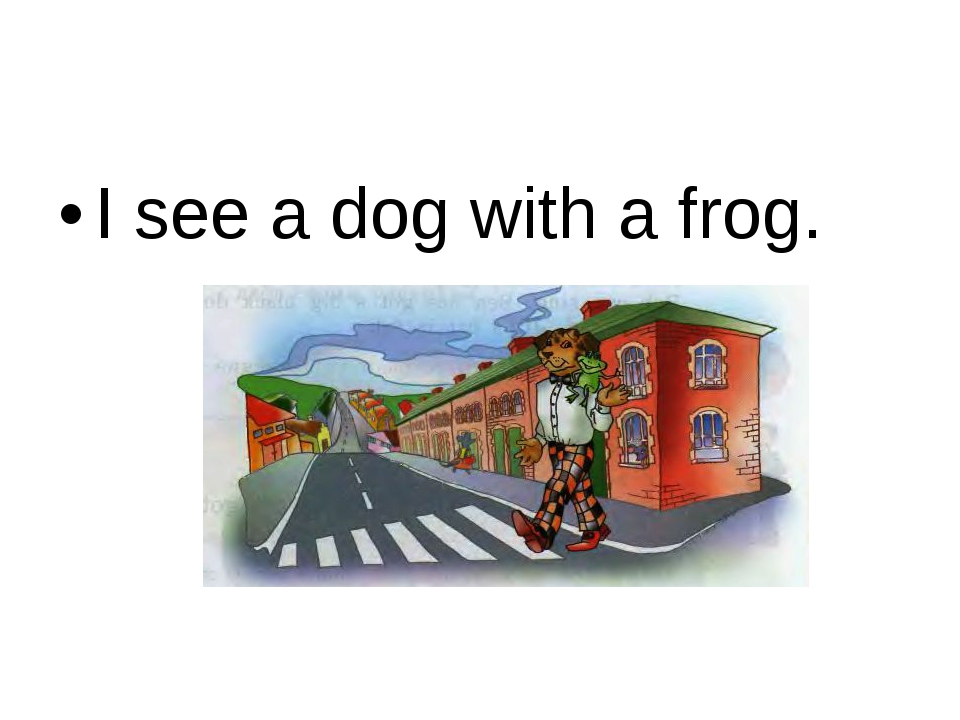 I see a dog with a frog.