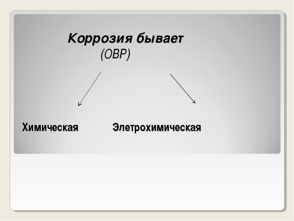 Коррозия бывает (ОВР) Химическая Элетрохимическая