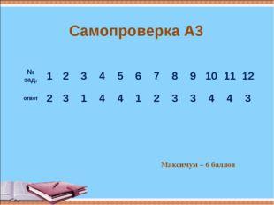 Самопроверка А3 Максимум – 6 баллов № зад.123456789101112 ответ2
