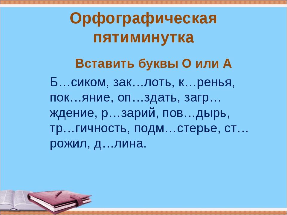 Орфографическая пятиминутка Вставить буквы О или А Б…сиком, зак…лоть, к…ренья...