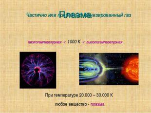 Плазма Частично или полностью ионизированный газ низкотемпературная < 1000 К