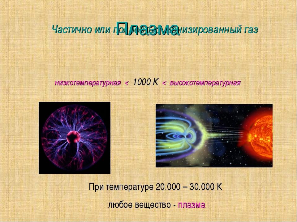 Плазма Частично или полностью ионизированный газ низкотемпературная < 1000 К...