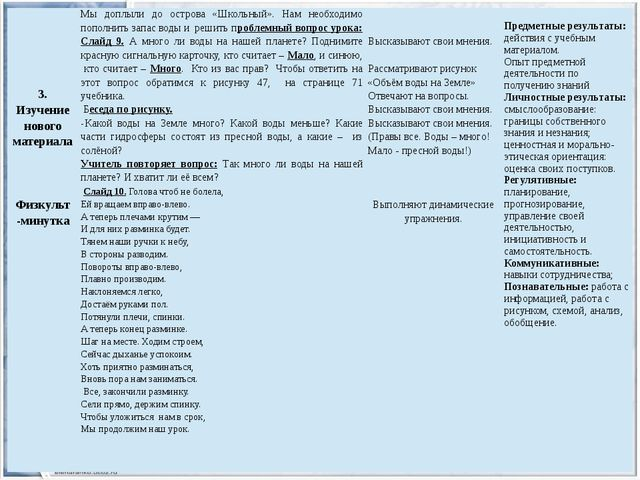 3. Изучение нового материала Физкульт-минутка Мыдоплыли до острова «Школьный...