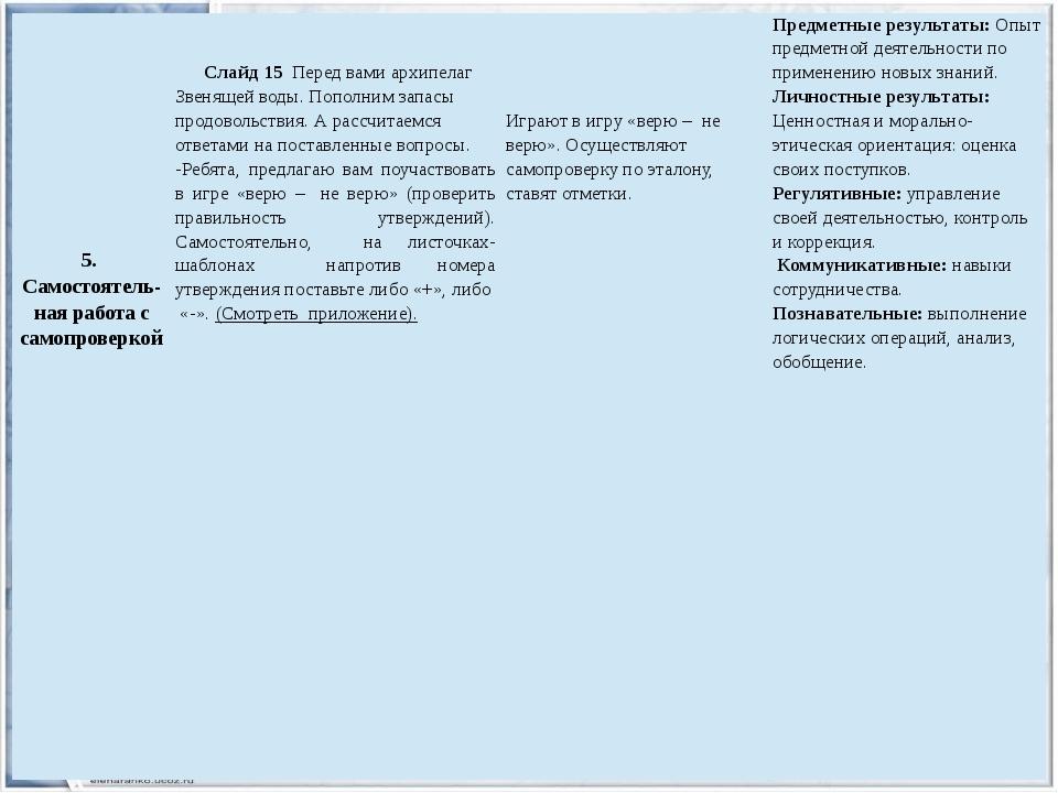 5. Самостоятель-наяработа с самопроверкой Слайд 15Передвами архипелаг Звенящ...