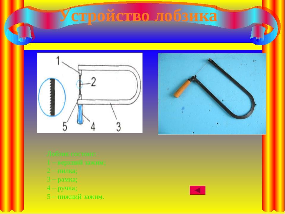 Устройство лобзика Лобзик состоит: 1 – верхний зажим; 2 – пилка; 3 – рамка; 4...