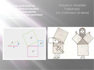 Квадрат,построенный на гипотенузе прямоугольного треугольника,равновелик сумм