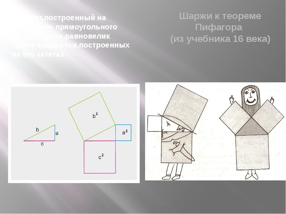 Квадрат,построенный на гипотенузе прямоугольного треугольника,равновелик сумм...