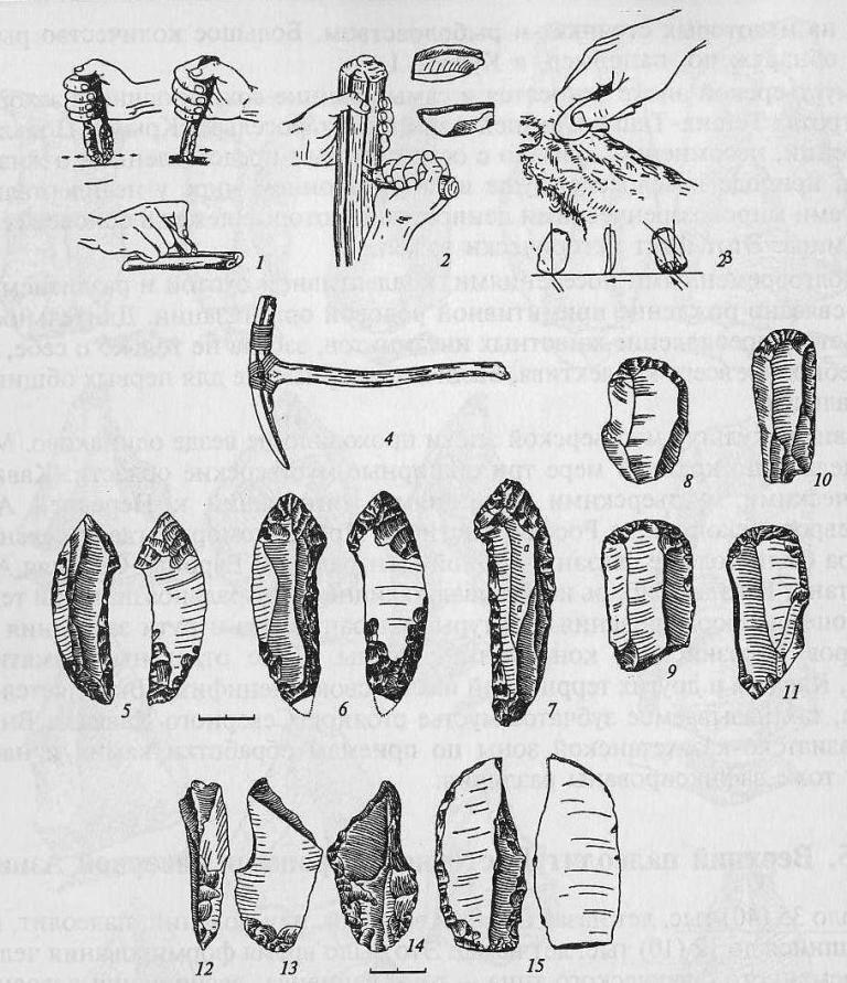 Техника верхнего палеолита: 1 - работа кремневым скребком и резцом; 2 - разчленение бивня резцом и кремневые лезвия; 3 - обработка шкуры скребком; 4 - кайло из бивня (по Пфейферу, М.М. Герасимову) ; 5-7 - клинки-наконечники с боковой выемкой; 8-11 - концевые скребки; 12-15 - резцы разных форм