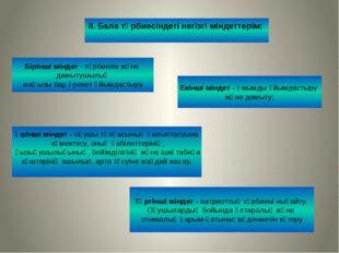 ІІ. Бала тәрбиесіндегі негізгі міндеттерім: Бірінші міндет - тәрбиелік және д