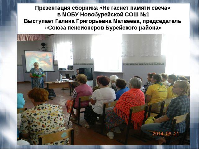 Презентация сборника «Не гаснет памяти свеча» в МОБУ Новобурейской СОШ №1 Выс...