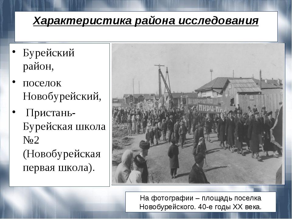 Характеристика района исследования Бурейский район, поселок Новобурейский, Пр...