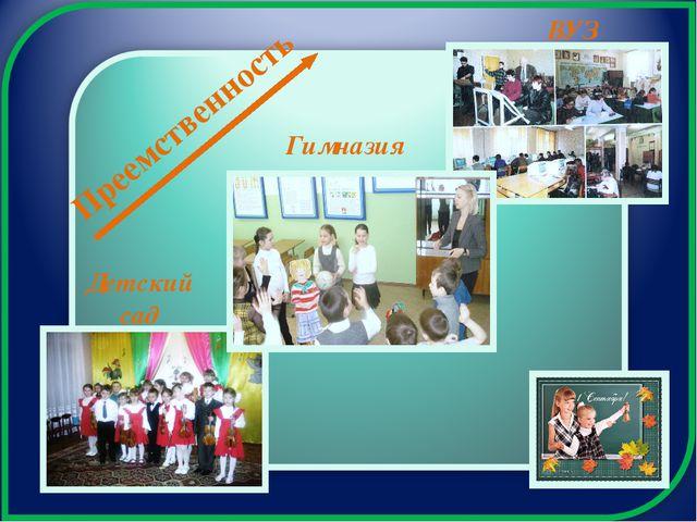 Преемственность Детский сад Гимназия ВУЗ