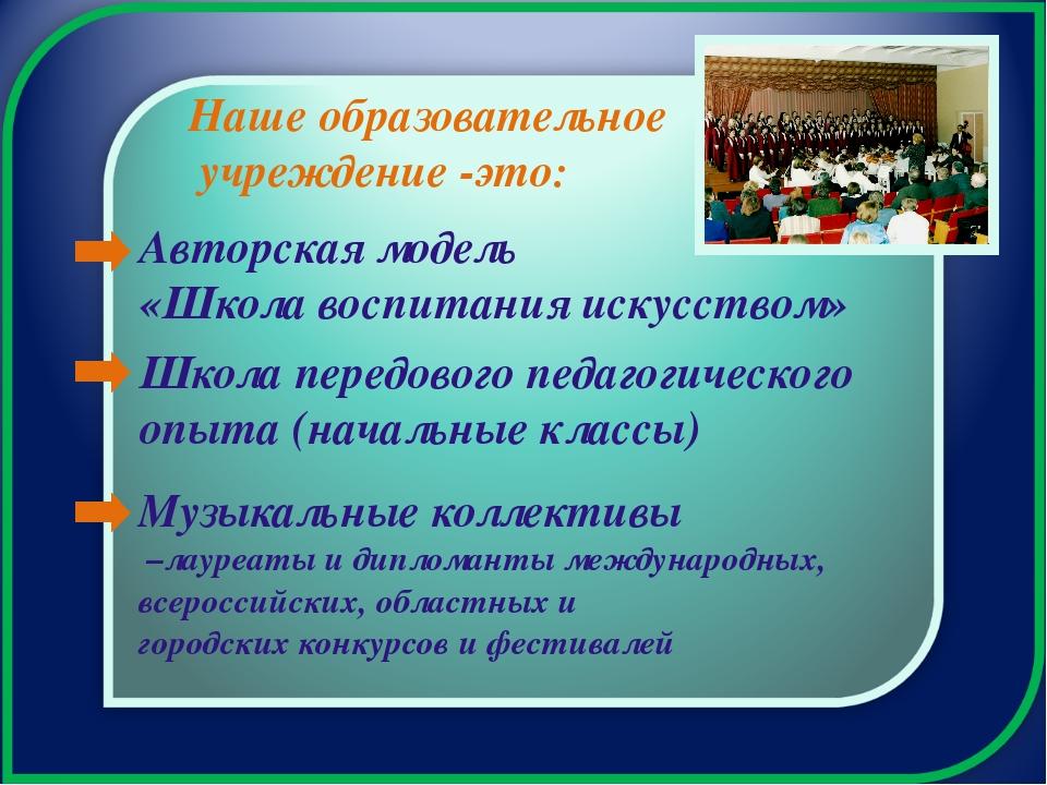 Авторская модель «Школа воспитания искусством» Школа передового педагогическо...