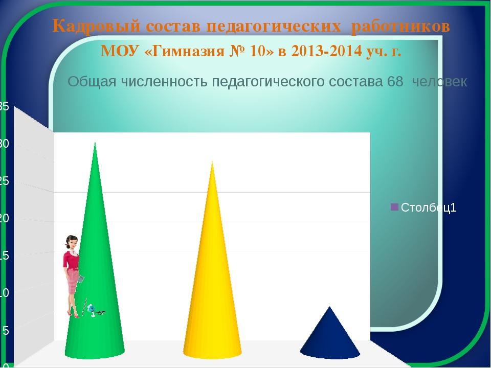 МОУ «Гимназия № 10» в 2013-2014 уч. г. Кадровый состав педагогических работн...