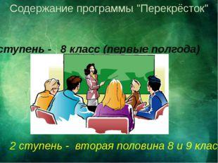 """Содержание программы """"Перекрёсток"""" 1 ступень - 8 класс (первые полгода) 2 сту"""