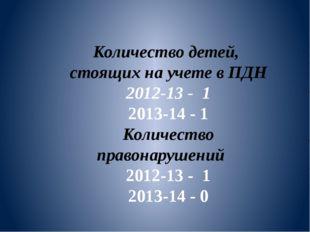 Количество детей, стоящих на учете в ПДН 2012-13 - 1 2013-14 - 1 Количество п