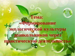 Тема: «Формирование экологической культуры дошкольников через практическую де