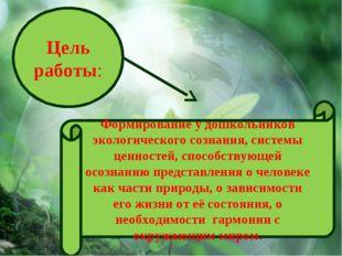 Цель работы: Формирование у дошкольников экологического сознания, системы цен