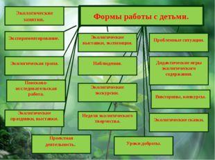 Проектная деятельность. Экологические занятия. Экспериментирование. Викторины