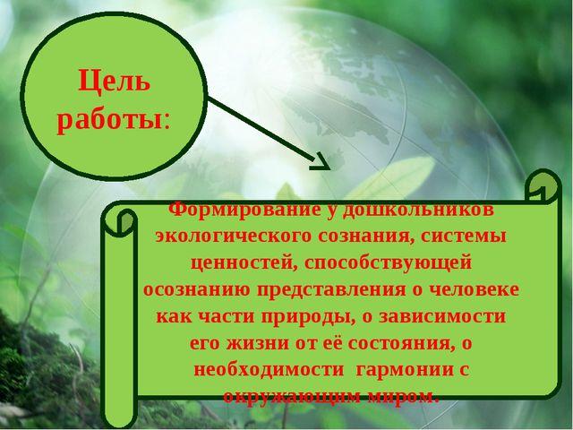 Цель работы: Формирование у дошкольников экологического сознания, системы цен...
