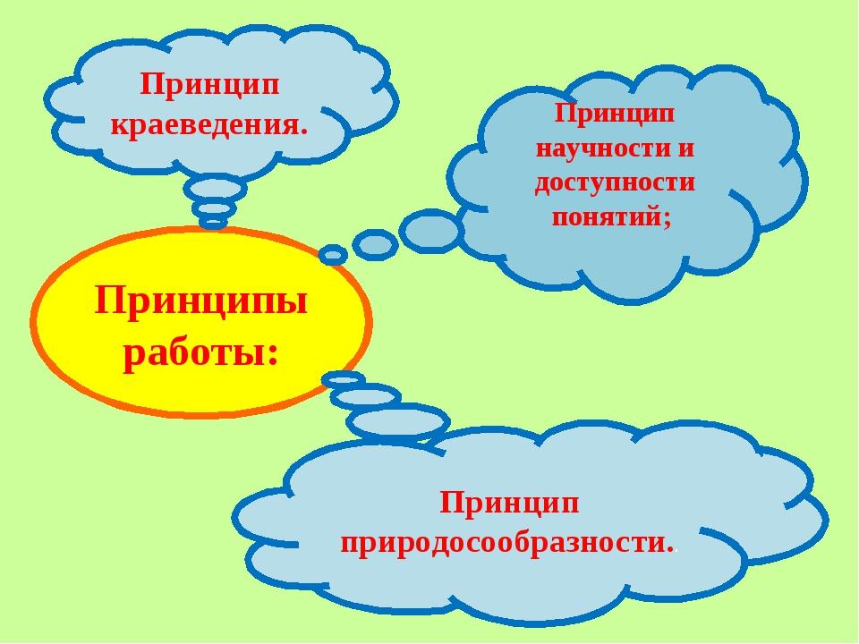 Принципы работы: Принцип научности и доступности понятий; Принцип краеведения...