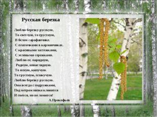 Русская березка Люблю березку русскую, То светлую, то грустную, В белом сараф
