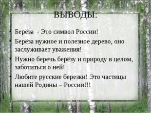 ВЫВОДЫ: Берёза - Это символ России! Берёза нужное и полезное дерево, оно засл