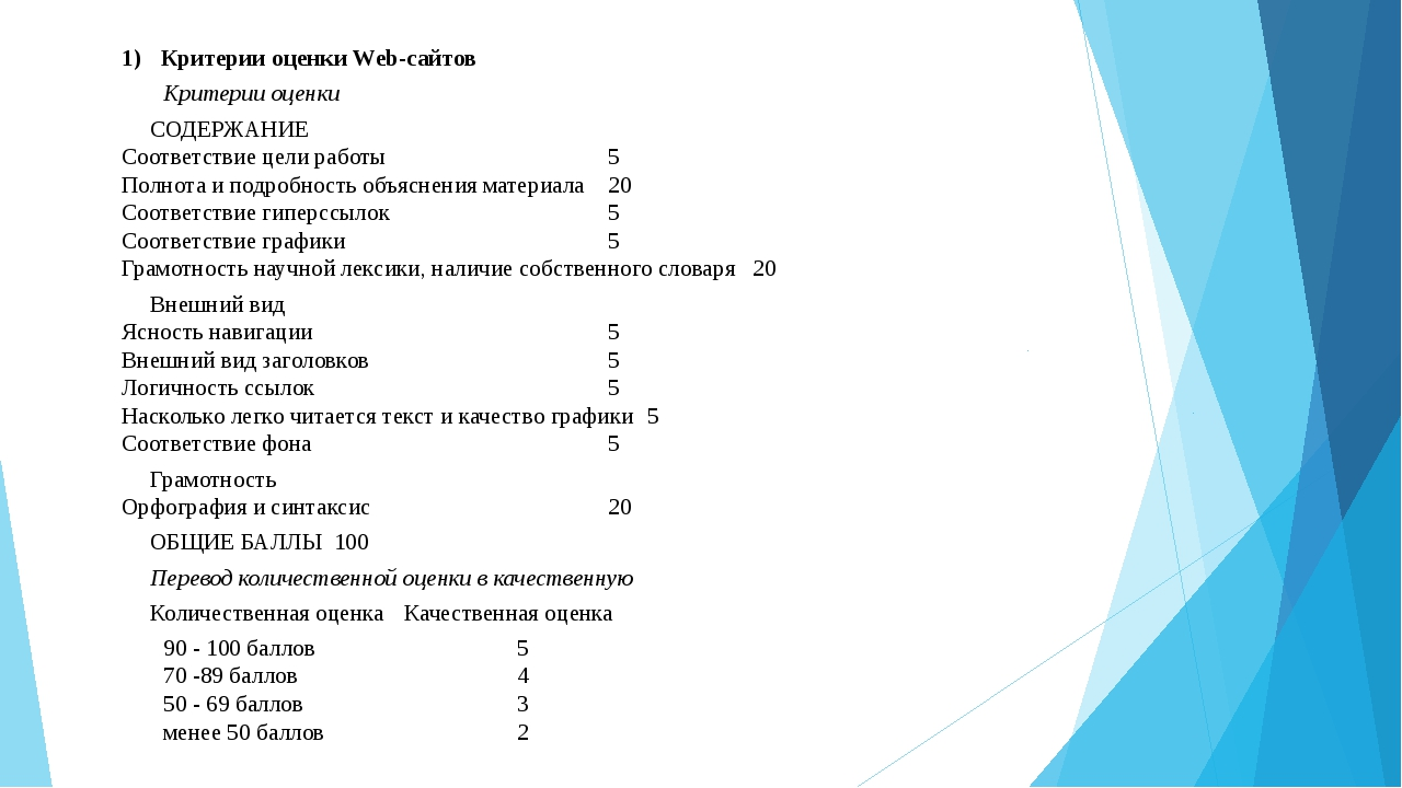 Критерии оценки Web-сайтов Критерии оценки СОДЕРЖАНИЕ Соответствие цели работ...