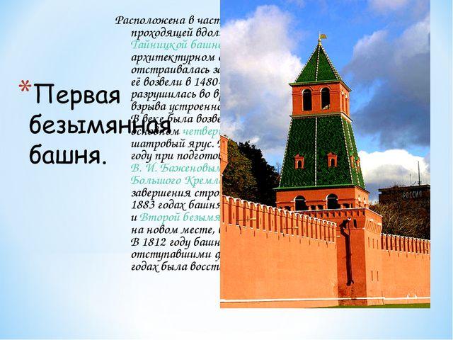 Расположена в части кремлёвской стены, проходящей вдоль Москвы-реки, рядом с...