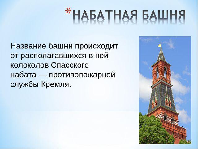 Название башни происходит от располагавшихся в ней колоколов Спасского набата...