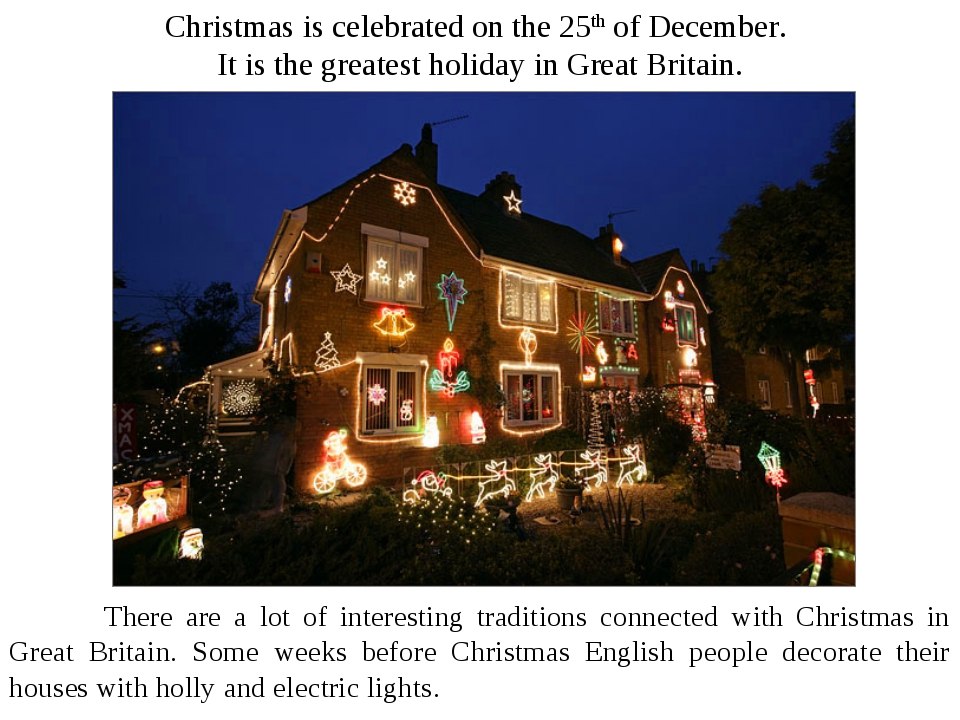 Christmas is celebrated on the 25th of December. It is the greatest holiday i...