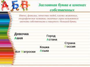 Заглавная буква в именах собственных Имена, фамилии, отчества людей, клички ж