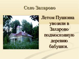 Село Захарово Летом Пушкина увозили в Захарово подмосковную деревню бабушки.