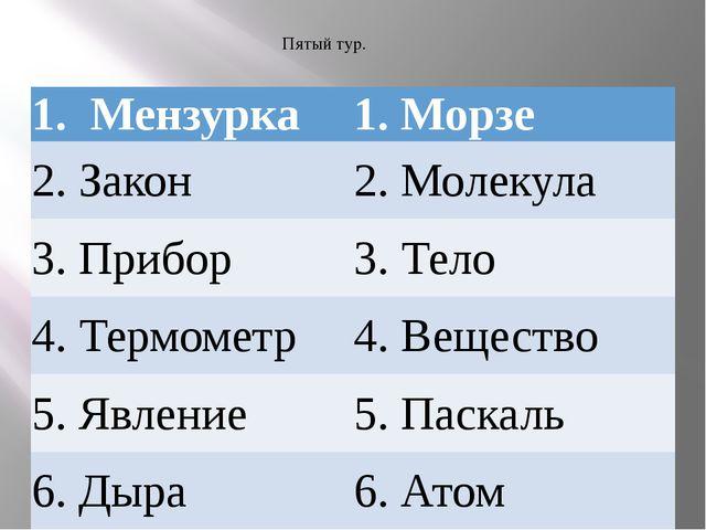 Пятый тур. 1. Мензурка 1. Морзе 2. Закон 2. Молекула 3. Прибор 3. Тело 4.Терм...