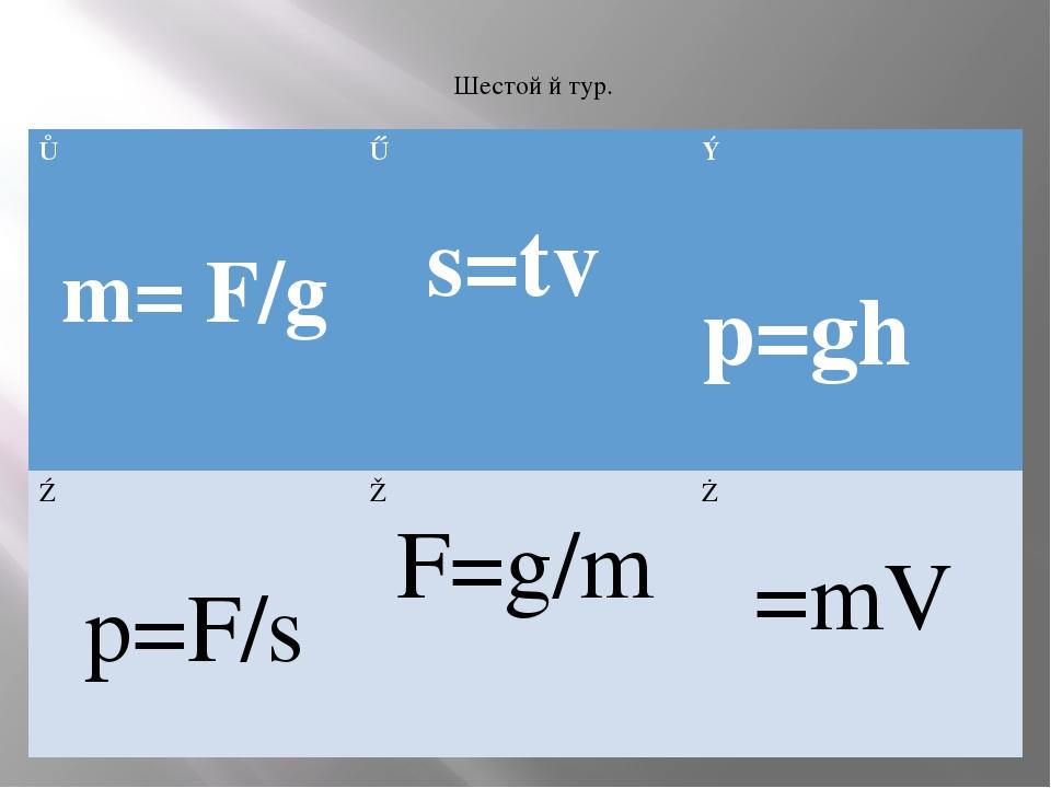 Шестой й тур. ① m= F/g ② s=tv ③ p=ghρ ④ p=F/s ⑤ F=g/m ⑥ ρ=mV