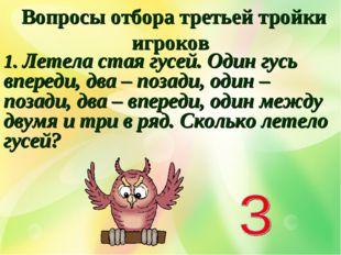Вопросы отбора третьей тройки игроков 1. Летела стая гусей. Один гусь вперед