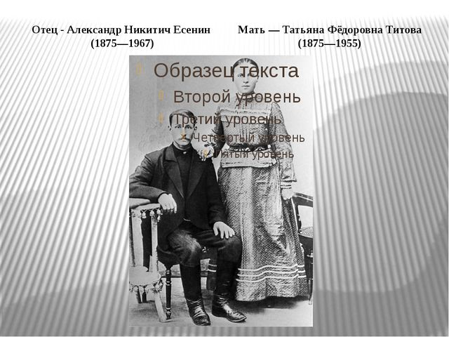 Отец - Александр Никитич Есенин (1875—1967) Мать — Татьяна Фёдоровна Титова (...