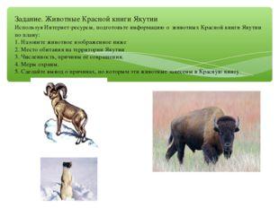 Задание. Животные Красной книги Якутии Используя Интернет-ресурсы, подготовьт