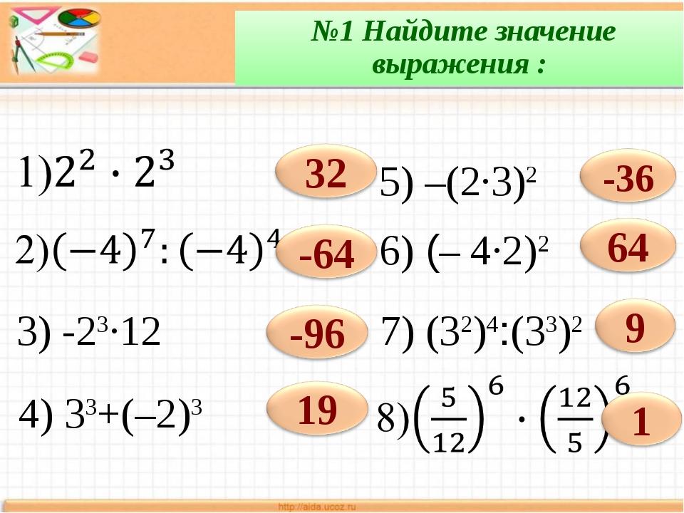 №1 Найдите значение выражения : 3) -23∙12 5) –(2·3)2 6) (– 4·2)2 7) (32)4:(3...