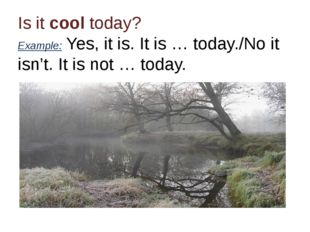 Is it cool today? Example: Yes, it is. It is … today./No it isn't. It is not