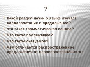 ? Какой раздел науки о языке изучает словосочетание и предложение? что такое